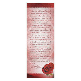 Bookmark in pearl cardboard with red rose image and K. Gibran sentence 15x5 cm s1