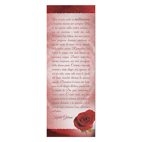 Bookmark in pearl cardboard with red rose image and K. Gibran sentence 15x5 cm 1