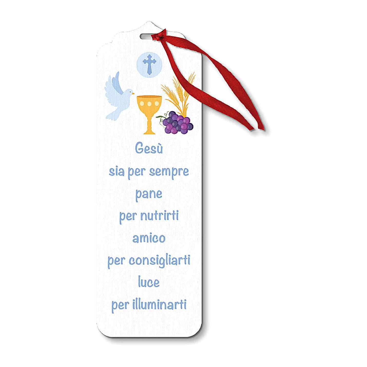 Segnalibro legno con chiudi pacco Simboli Eucaristici e spirito Santo 15x5 cm 4