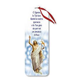 Segnalibro legno con chiudi pacco Gesù Risorto 15x5 cm s1