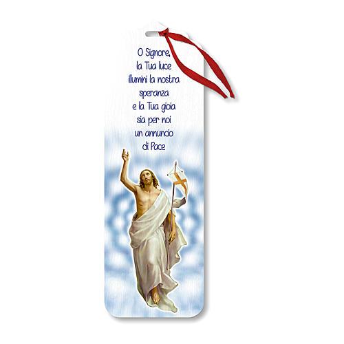 Segnalibro legno con chiudi pacco Gesù Risorto 15x5 cm 1
