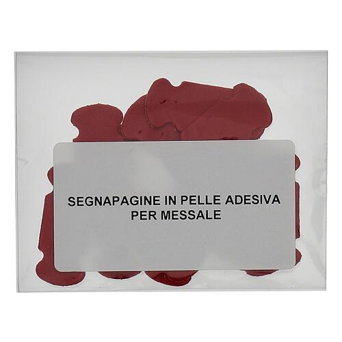 Segnalibro in pelle rossa adesiva 15 pz 2