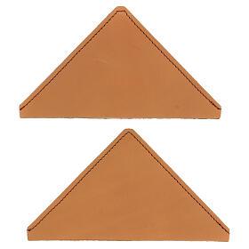 Cognac leather corner protector for liturgical books 12 cm 2 pcs s1