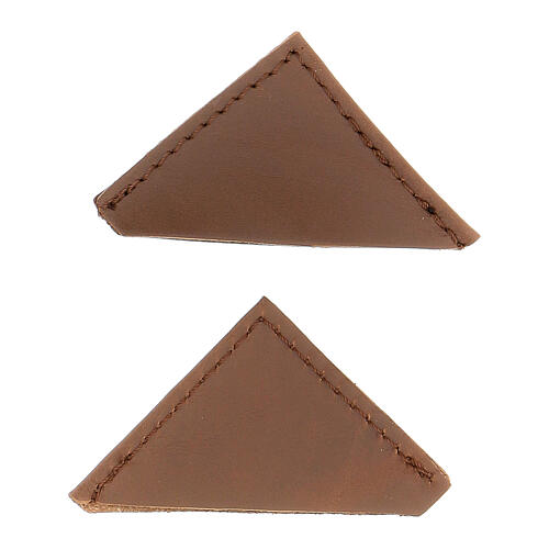 Brown leather corner protector for liturgical books 5 cm 2 pcs 1