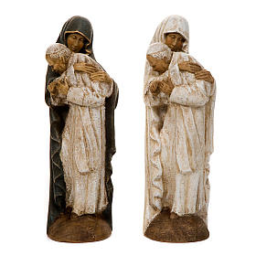 Hand painted wooden statues: Mary with John Paul II