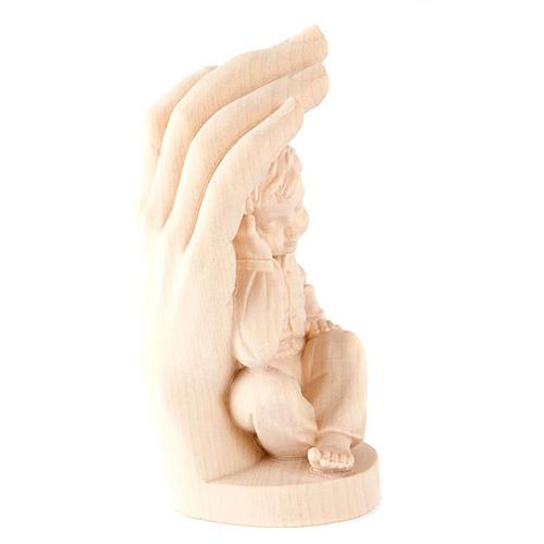 Hand Gottes mit Kind Naturholz 2