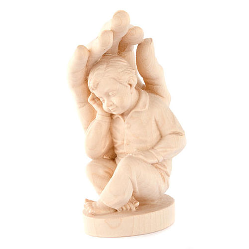 Hand of God with baby boy in wood 1