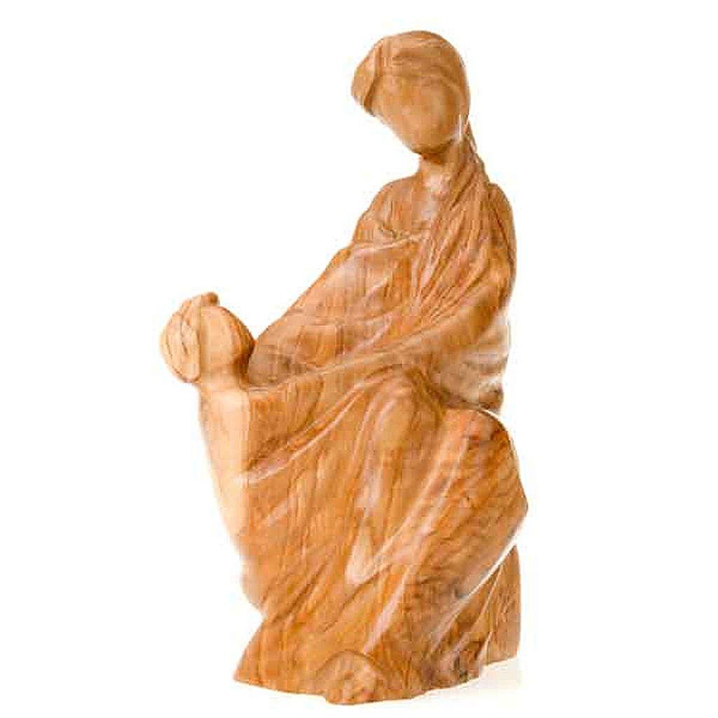 Statua Madonna con Gesù Bambino legno olivo 4