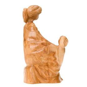 Statua Madonna con Gesù Bambino legno olivo s2