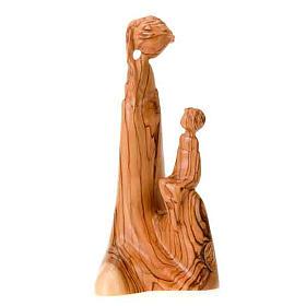 Imágenes de madera natural: Virgen sentada con el Niño Jesús en madera