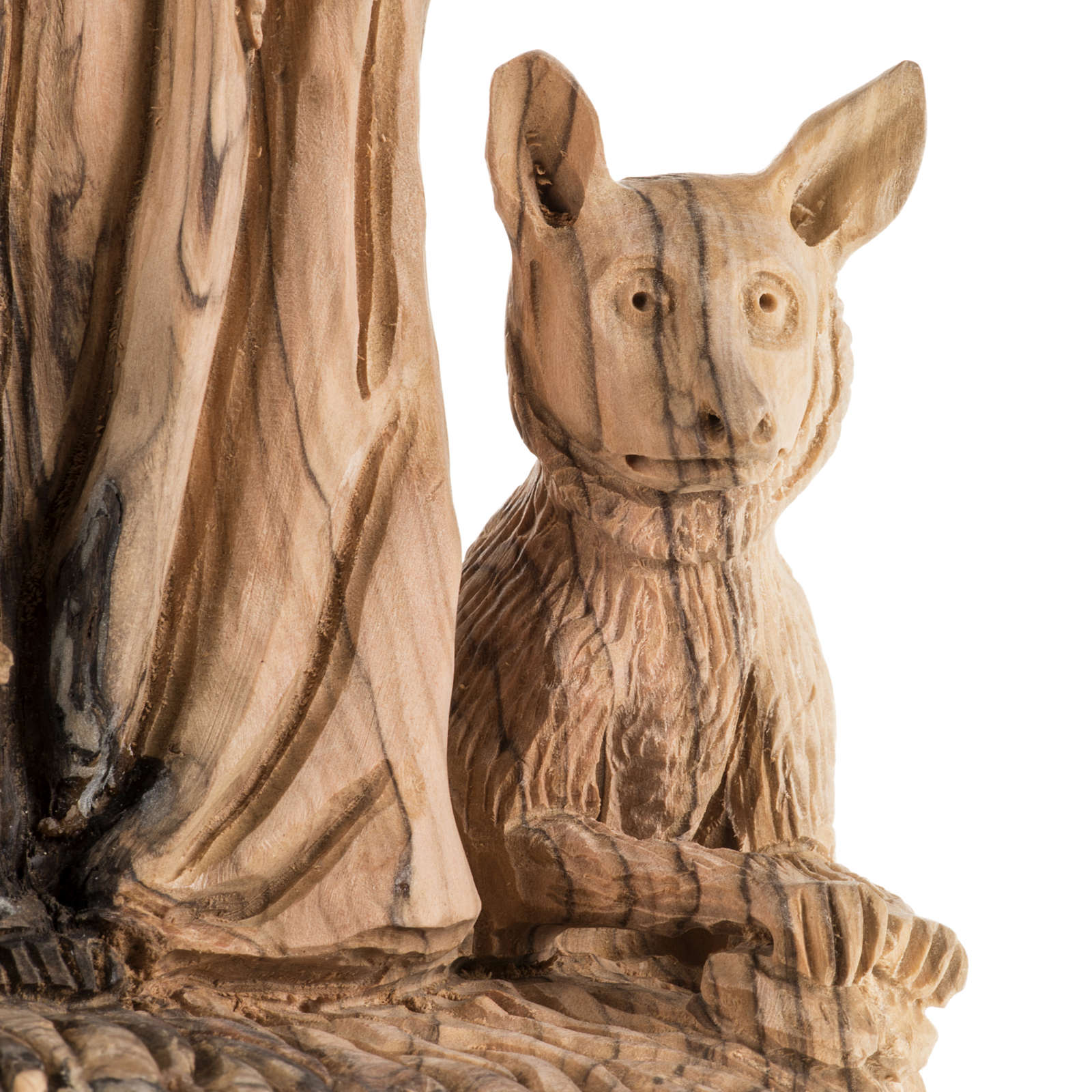 Statua San Francesco legno olivo Terrasanta 30 cm 4