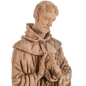 Statua San Francesco legno olivo Terrasanta 30 cm