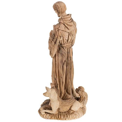 Statua San Francesco legno olivo Terrasanta 30 cm 9