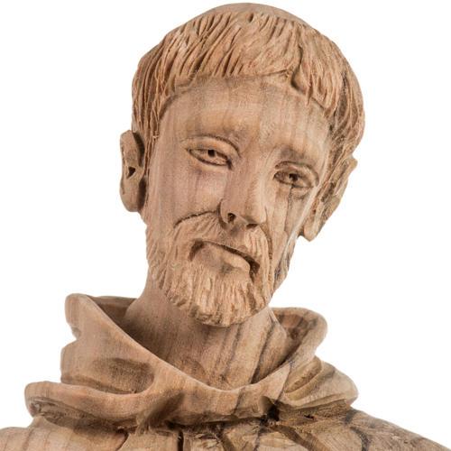 Statua San Francesco legno olivo Terrasanta 30 cm 12