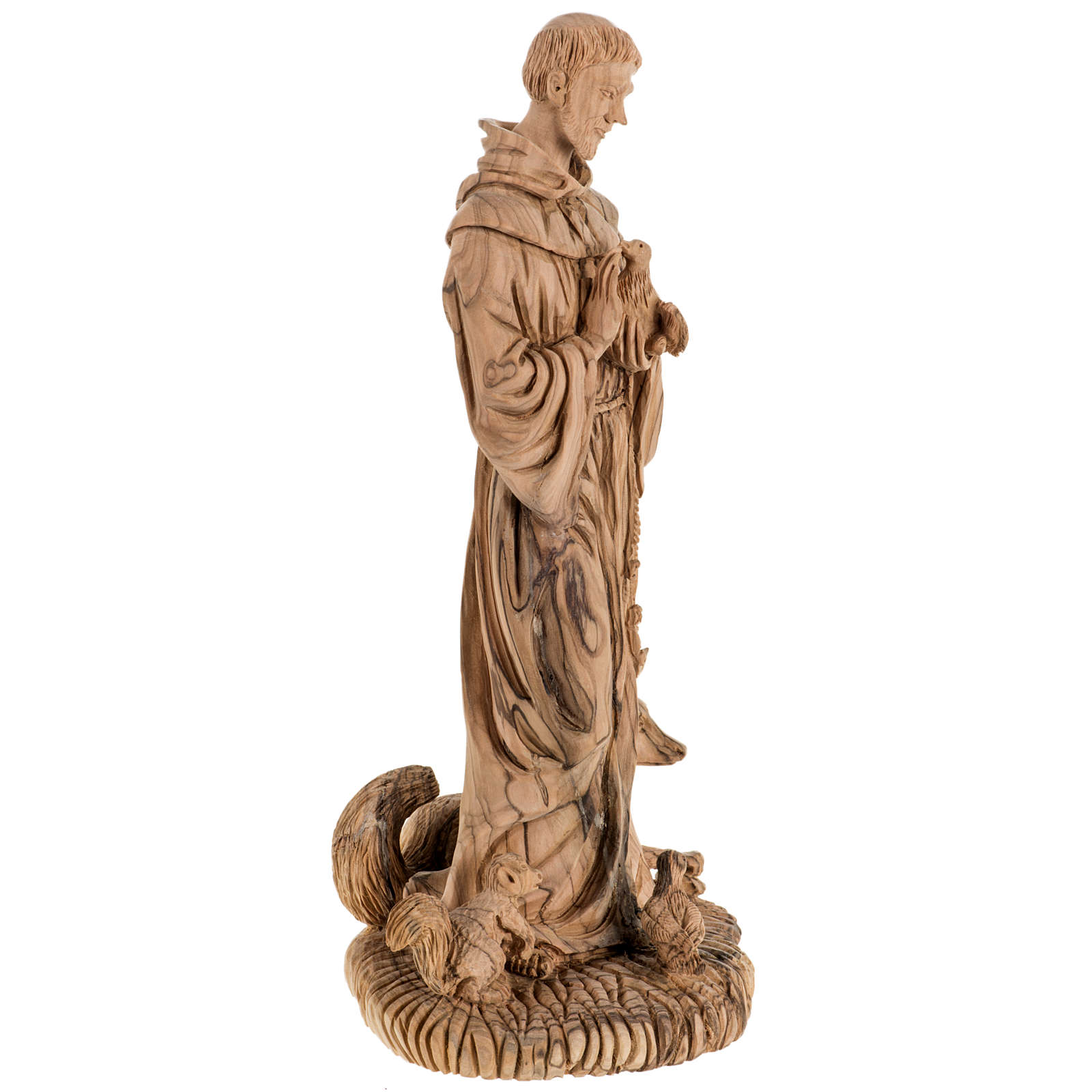 Saint Francis of Assisi statue in Holy Land olive wood 30 cm 4