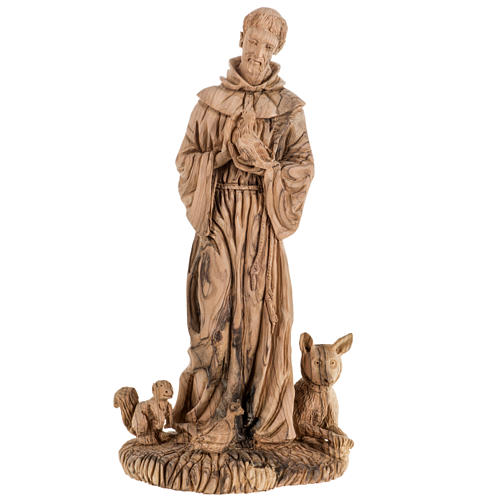 Saint Francis of Assisi statue in Holy Land olive wood 30 cm 1