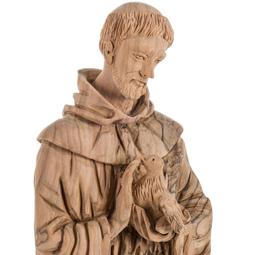 Saint Francis of Assisi statue in Holy Land olive wood 30 cm 2