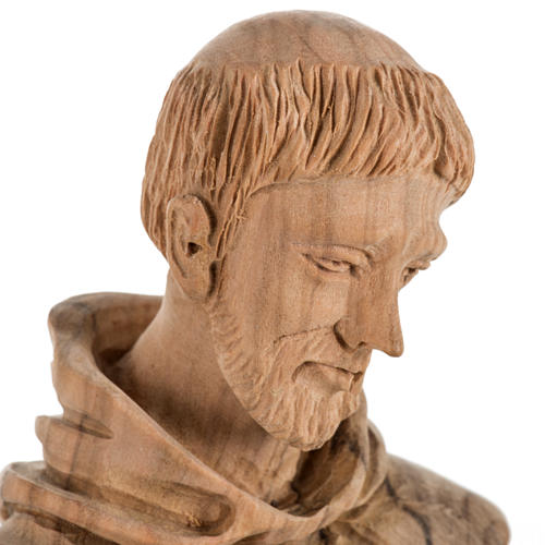 Saint Francis of Assisi statue in Holy Land olive wood 30 cm 3