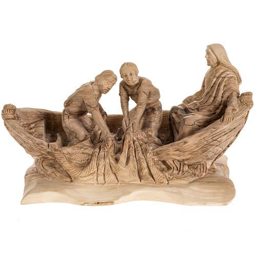 Statua Pesca Miracolosa legno olivo Terra Santa 1