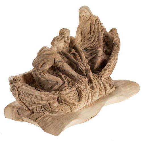 Statua Pesca Miracolosa legno olivo Terra Santa 2