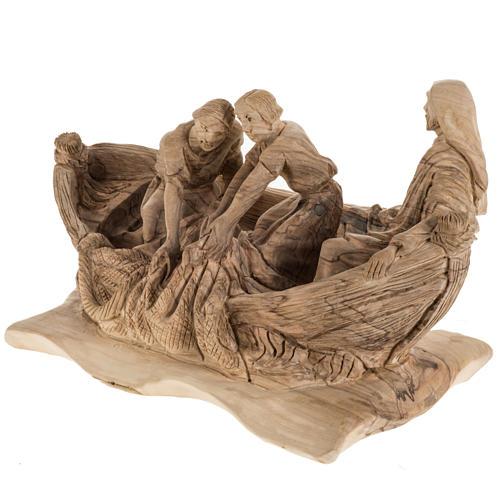 Statua Pesca Miracolosa legno olivo Terra Santa 3