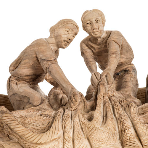 Statua Pesca Miracolosa legno olivo Terra Santa 4