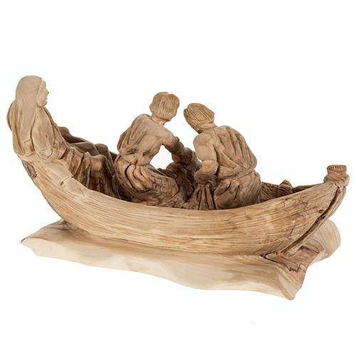 Statua Pesca Miracolosa legno olivo Terra Santa 6