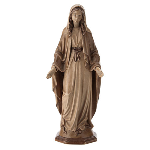Immaculate Mary statue in waxed Valgardena wood 1