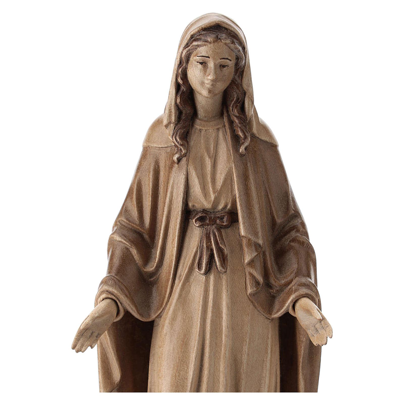 Virgen Inmaculada de madera multi-patinada de la Val Gardena 4
