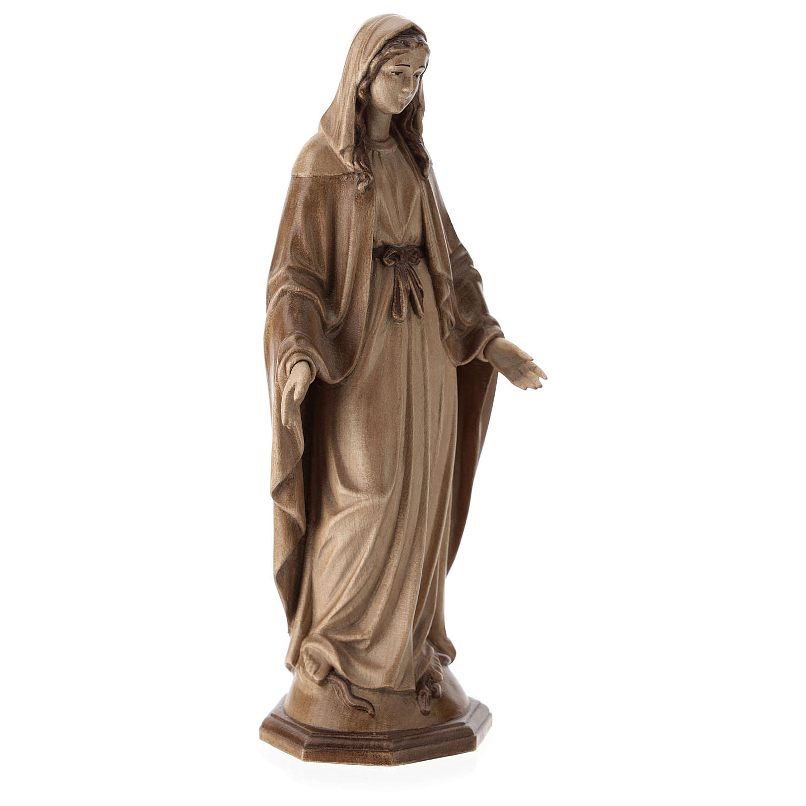 Immaculate Mary statue in multi-patinated Valgardena wood 4