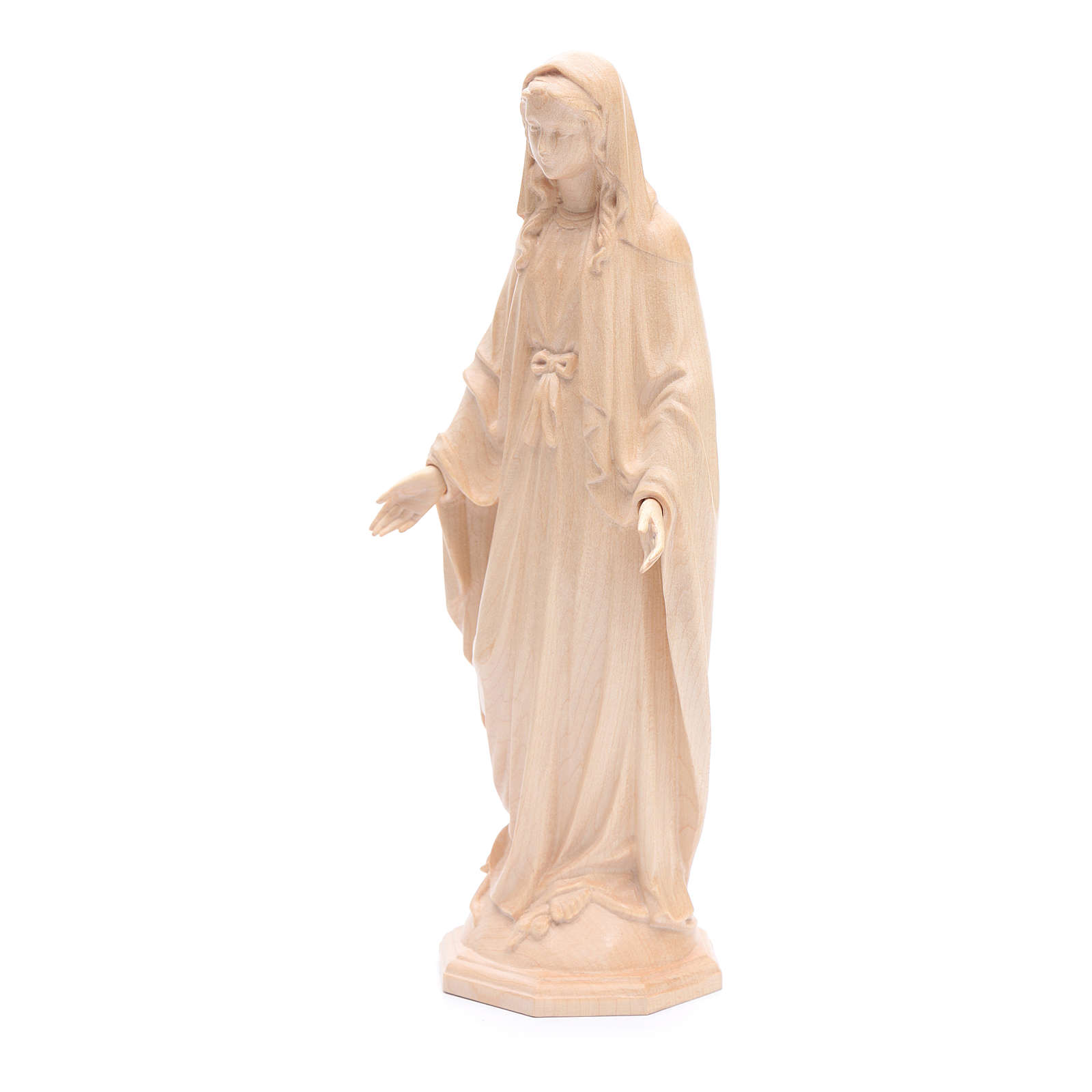 Immaculate Mary statue in Valgardena wood, natural wax 4