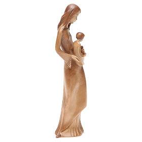 Virgen con niño y paloma de madera multi-patinada de la Val Gardena s4