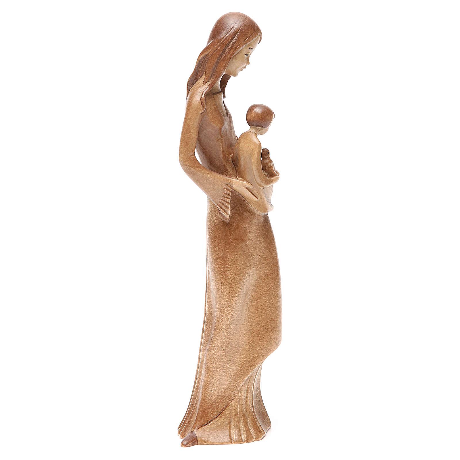 Vierge Enfant et colombe patiné multinuance Valgardena 4