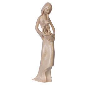 Imágenes de madera natural: Virgen con niño y paloma de madera natural patinada de la Val Gardena