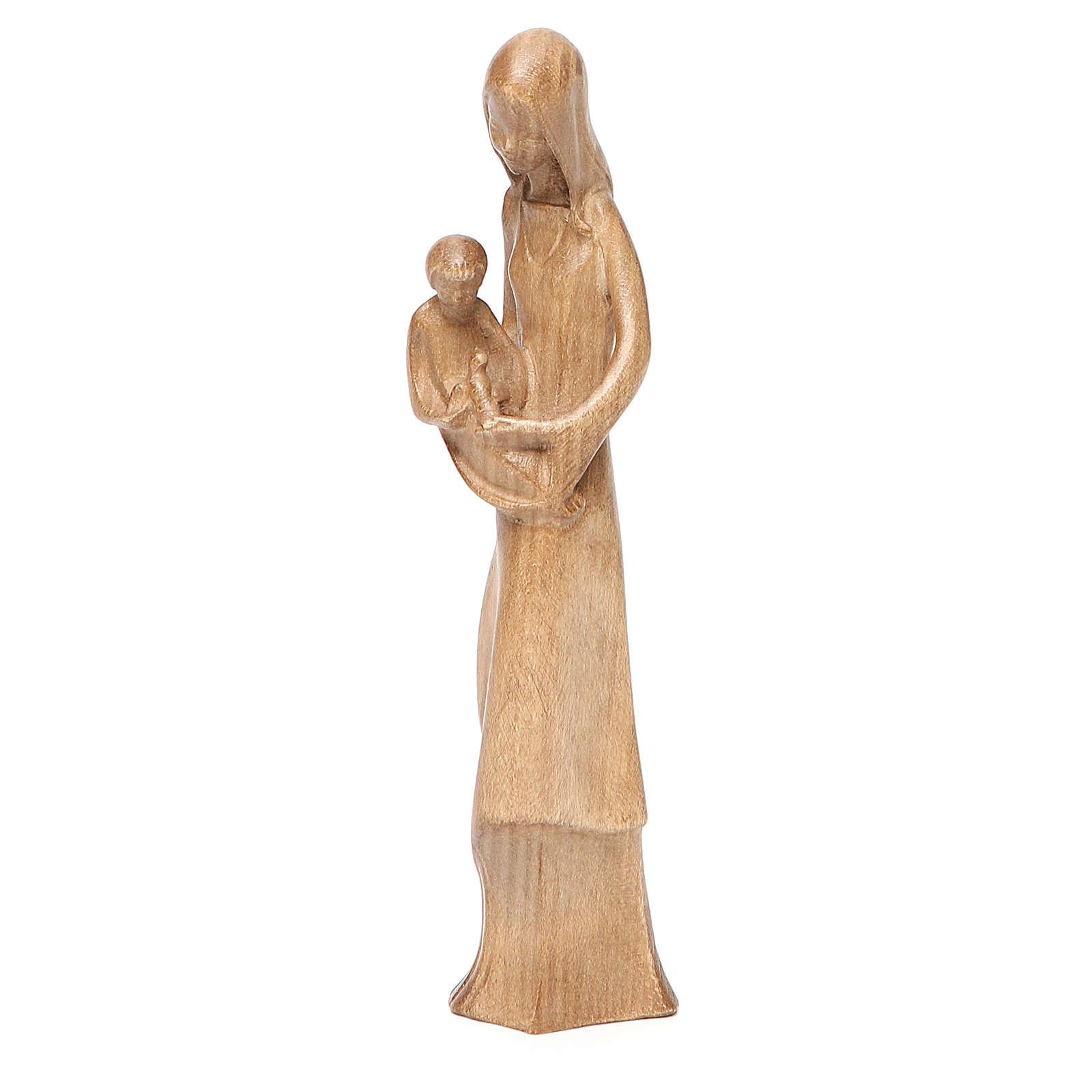 Virgen Niño y Paloma madera Valgardena patinada 4