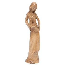 Imágenes de madera natural: Virgen Niño y Paloma madera Valgardena patinada