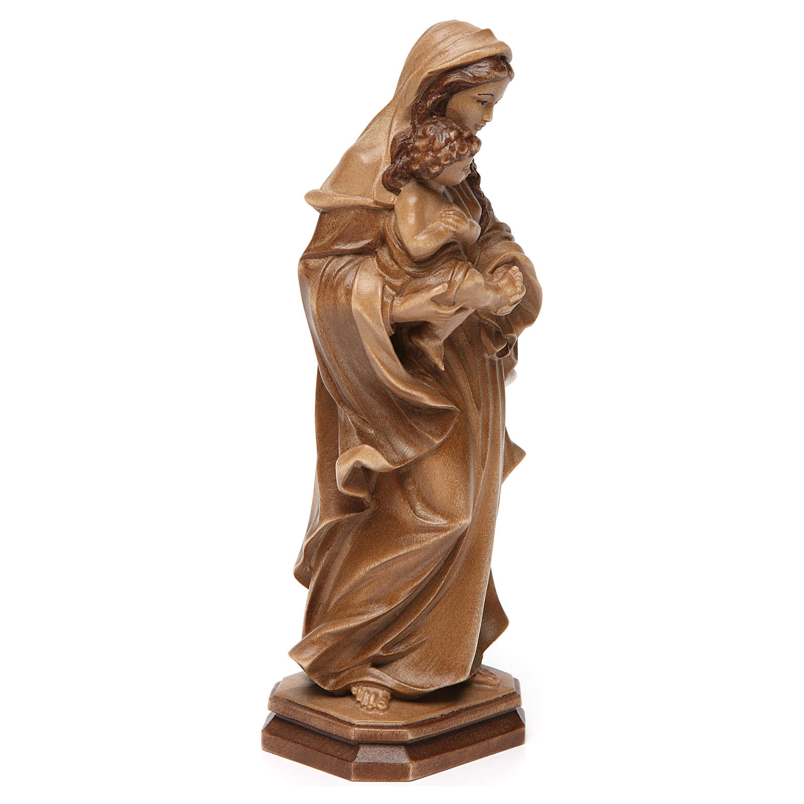 Virgin Mary statue in Valgardena wood, Baroque style, multi-pati 4