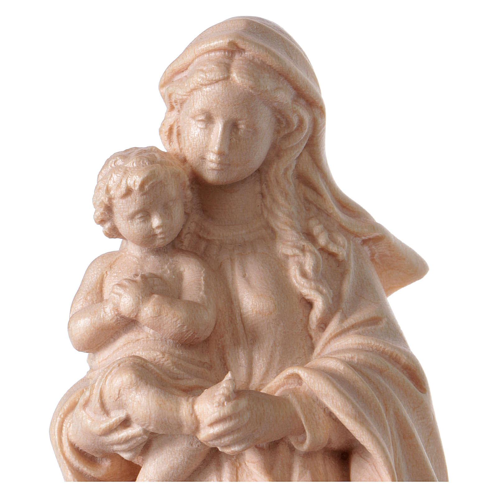 Virgin Mary statue in Valgardena wood, Baroque style, natural fi 4