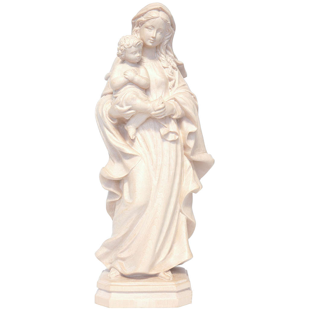 Madonna stile barocco legno Valgardena naturale 4