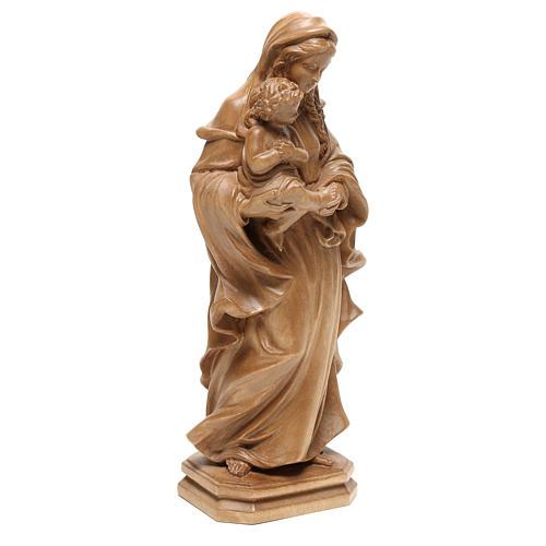 Virgen de estilo barroco de madera patinada de la Val Gardena 4