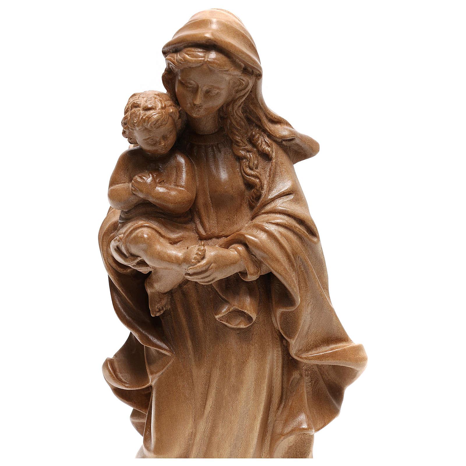 Virgem Maria estilo barroco madeira Val Gardena patinada 4