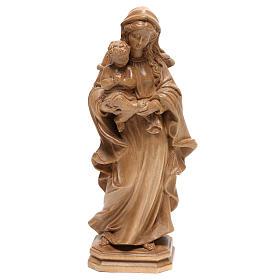 Virgem Maria estilo barroco madeira Val Gardena patinada s1
