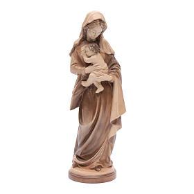 Imágenes de madera natural: Virgen con Niño Madera Valgardena Multi-Patinada