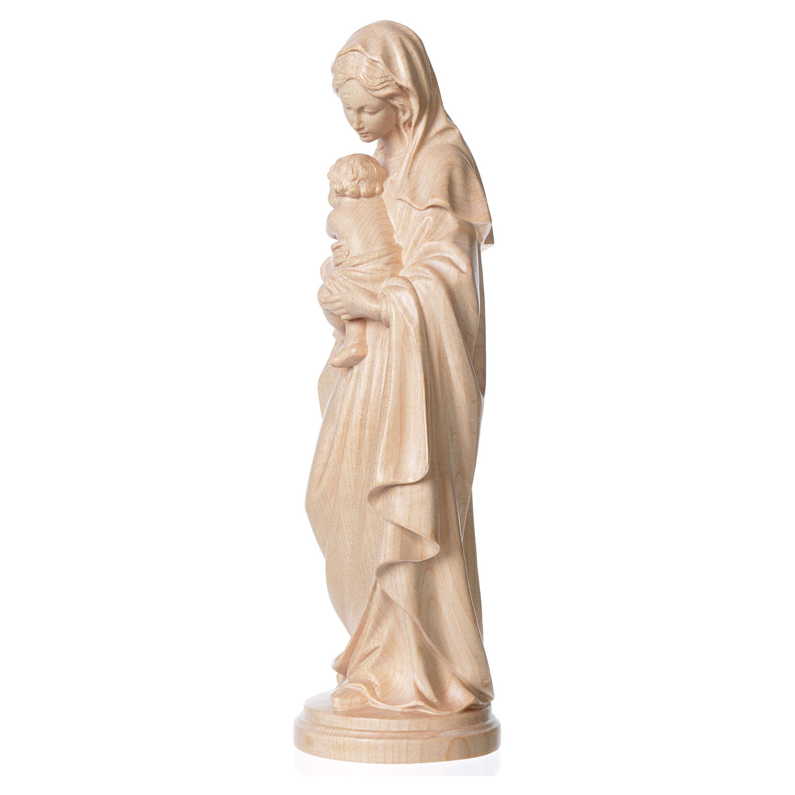 Mary with baby, statue in patinated Valgardena wood, natural wax 4