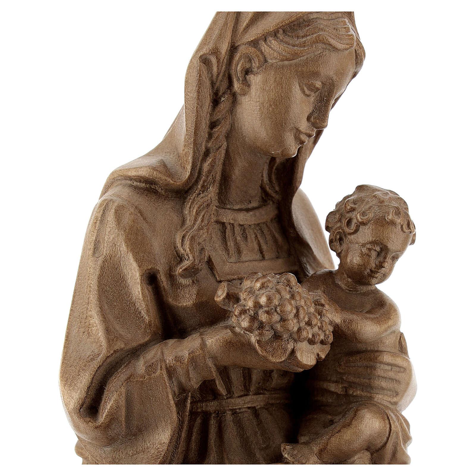 Madonna seduta con bimbo e uva legno Valgardena patinato 4