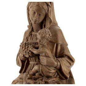 Madonna seduta con bimbo e uva legno Valgardena patinato s2
