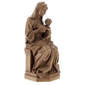 Madonna seduta con bimbo e uva legno Valgardena patinato s5