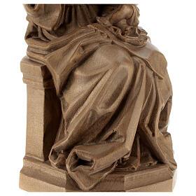 Madonna seduta con bimbo e uva legno Valgardena patinato s6