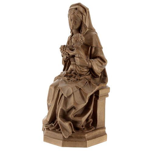 Madonna seduta con bimbo e uva legno Valgardena patinato 3