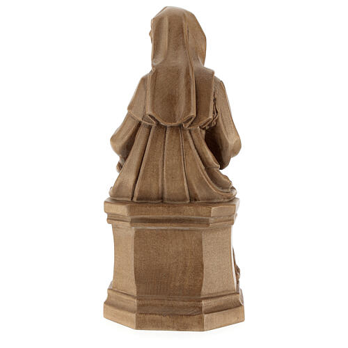 Madonna seduta con bimbo e uva legno Valgardena patinato 7